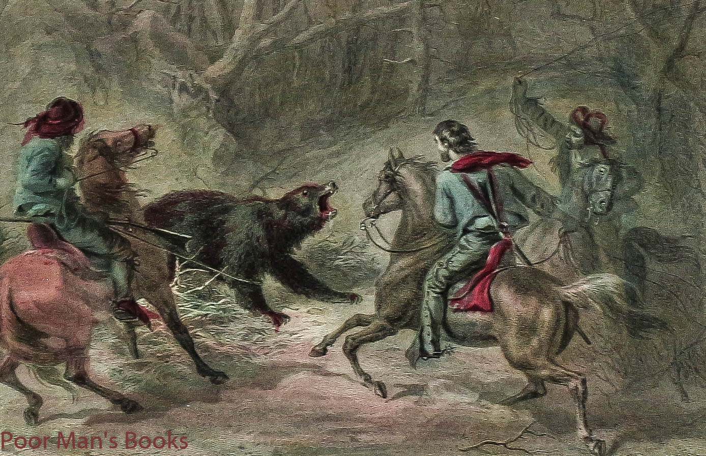 Image for Native Californians Lassoing A Bear Color Plate Printed By Appleton.