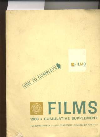 Image for FILMS, 1968 CUMULATIVE SUPPLEMENT FROM THE FILM RENTAL LIBRARY