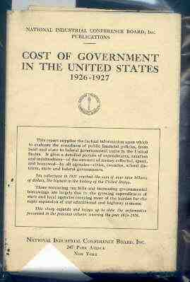 Image for COST OF GOVERNMENT IN THE UNITED STATES 1926-1927