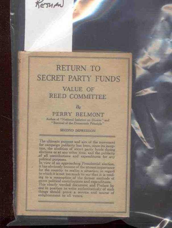 Image for RETURN TO SECRET PARTY FUNDS: VALUE OF REED COMMITTEE