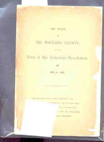 Image for WORK OF THE MARYLAND SOCIETY OF THE SONS OF THE ANERICAN REVOLUTION 1889-1902