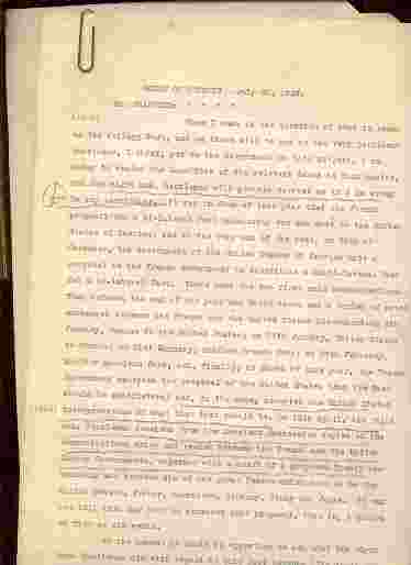 Image for HOUSE OF COMMONS MEMORANDUM RE THE PROPOSED TREATY BETWEEN UNITED STAES, FRANCE, ITALY, GERMANY, GREAT BRITAIN AND JAPAN. July 30th 1928 (Includes Address by Secretary of State Kellog)