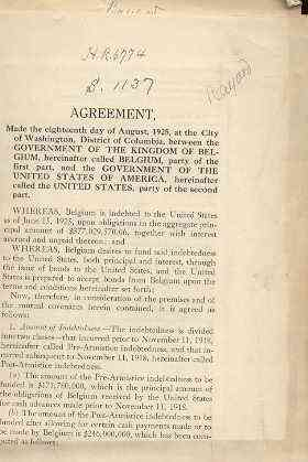 Image for AN ACT TO AUTHORIZE THE SETTLEMENT OF THE INDEBTEDNESS OF THE GOVERNMENT OF THE KINGDOM OF BELGIUM TO THE GOVERNMENT OF THE UNITED STATES OF AMERICA.  (With Some Corollary Documents)